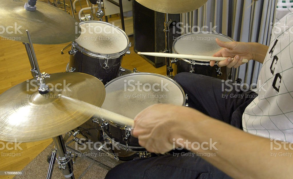 Man's Hands Drumming stock photo