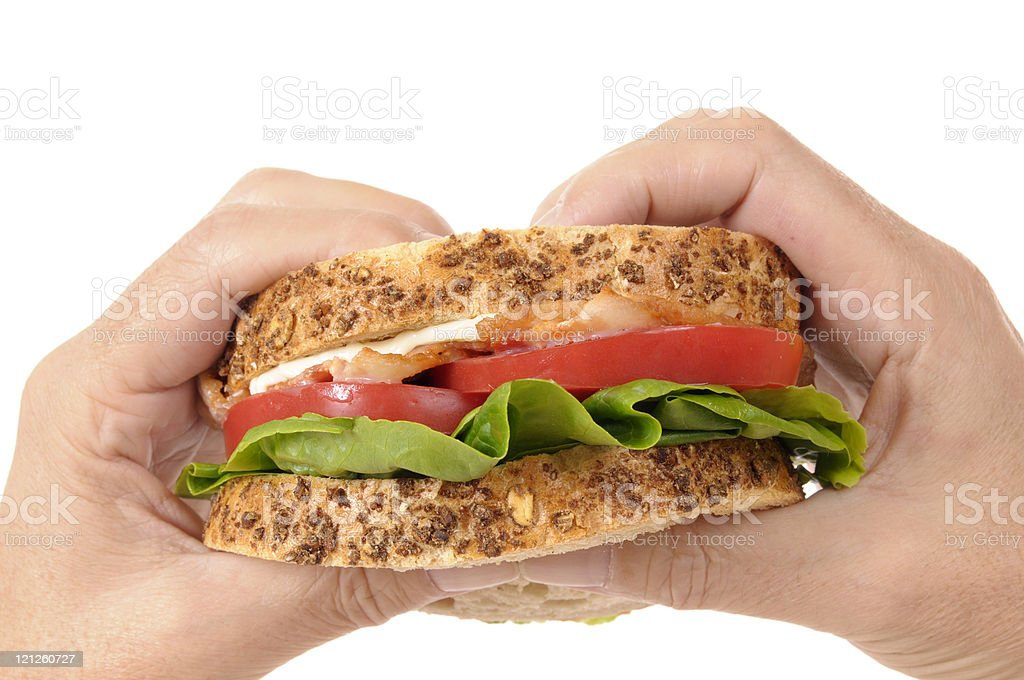 Man's hands holding BLT sandwich royalty-free stock photo
