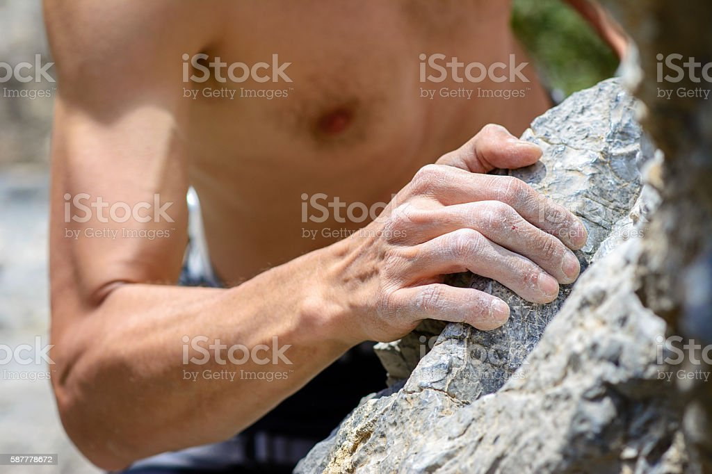 Man's hands holding grip stock photo