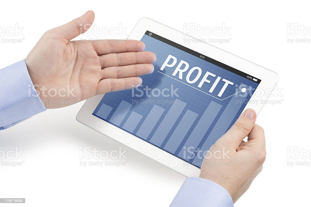 Mans hands holding tablet computer and directing toward the screen. stock photo