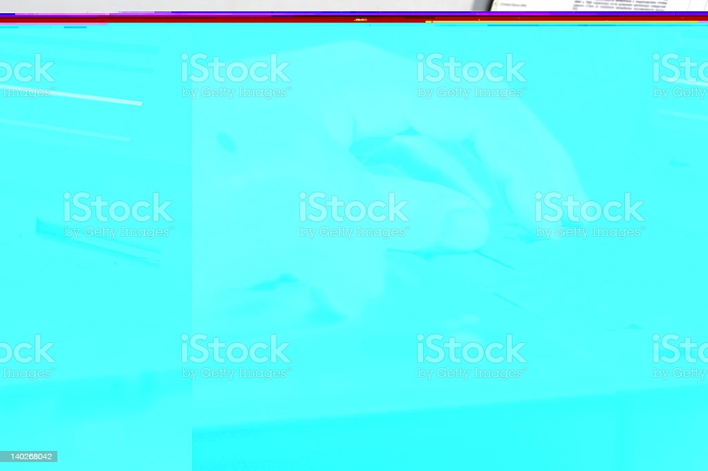 Man's hands on the keyboard of laptop stock photo
