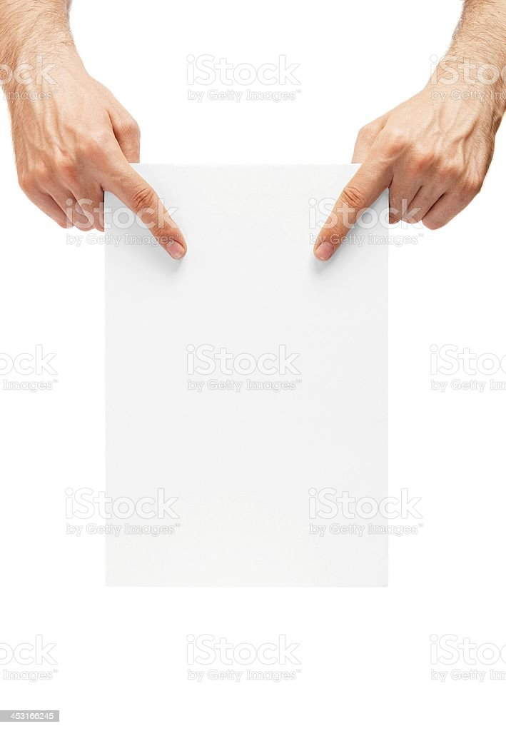 mans' hands showing a blank billboard royalty-free stock photo