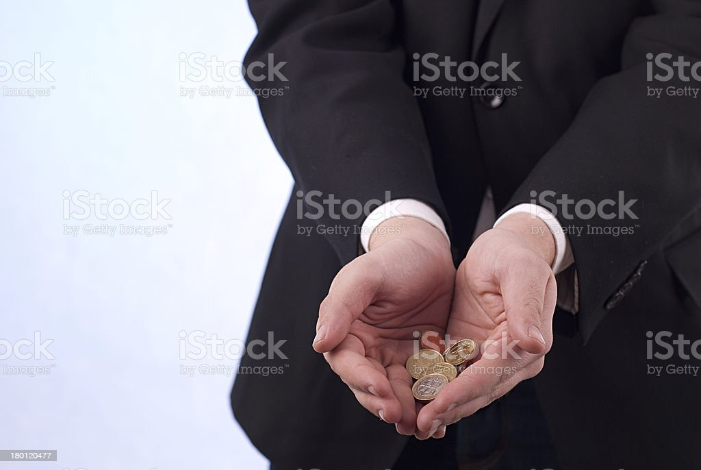 Man's hands with euro coins royalty-free stock photo