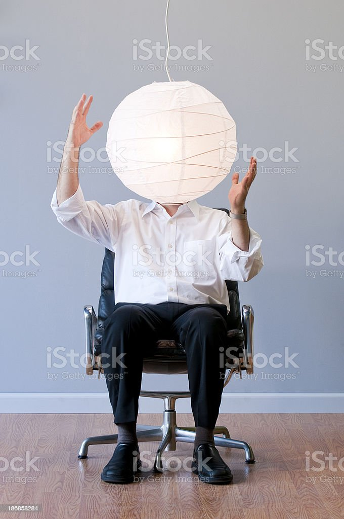 Man's Head Covered By A Japanese Lantern. stock photo