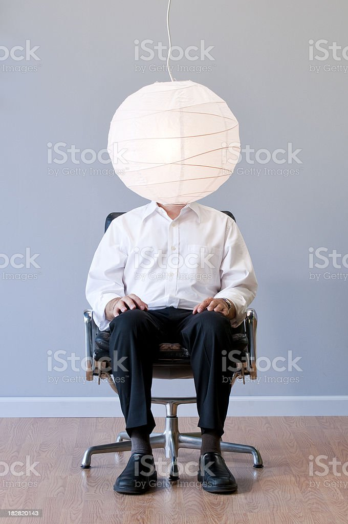 Man's Head covored By A Japanese Lantern. royalty-free stock photo