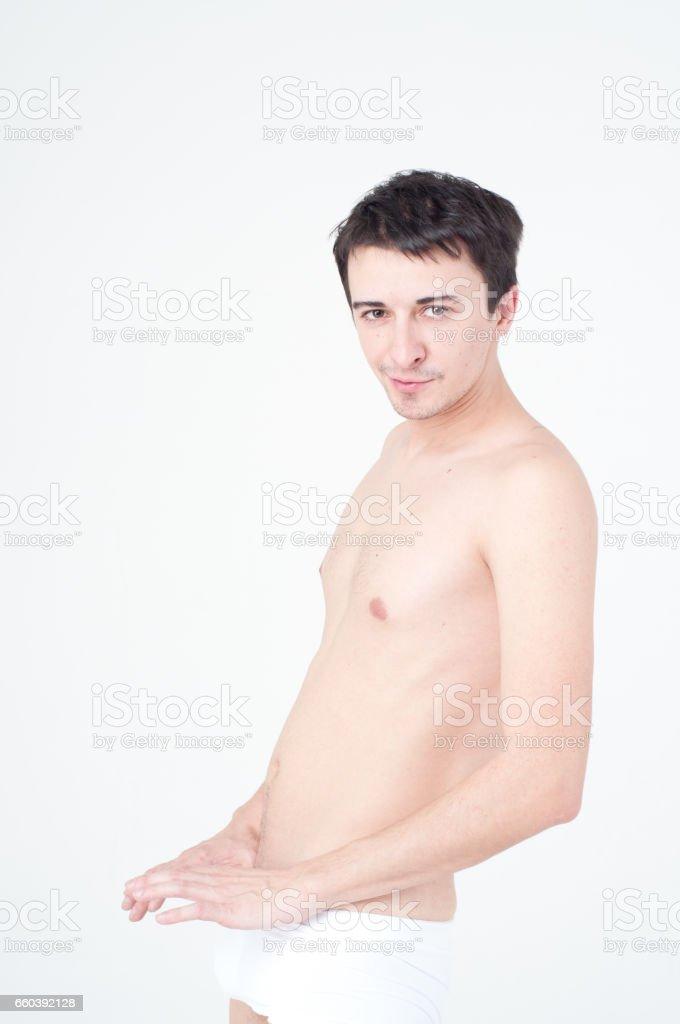 Man's health. Naked and sexy guy. stock photo
