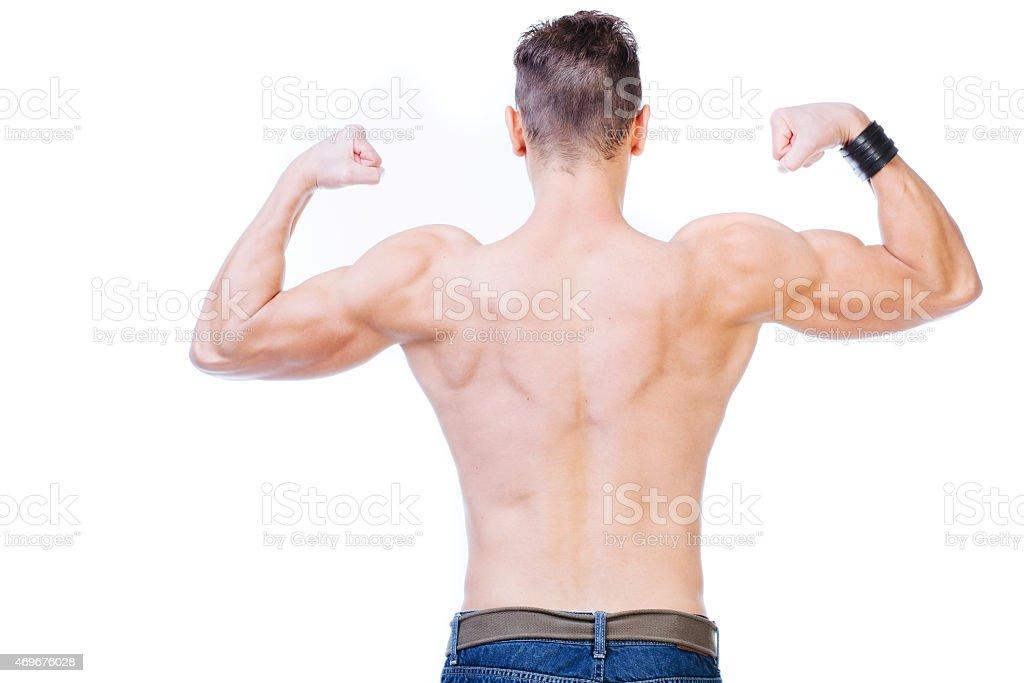 Man's muscular back stock photo