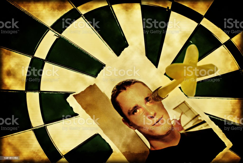 Man's Picture on Dart Board royalty-free stock photo