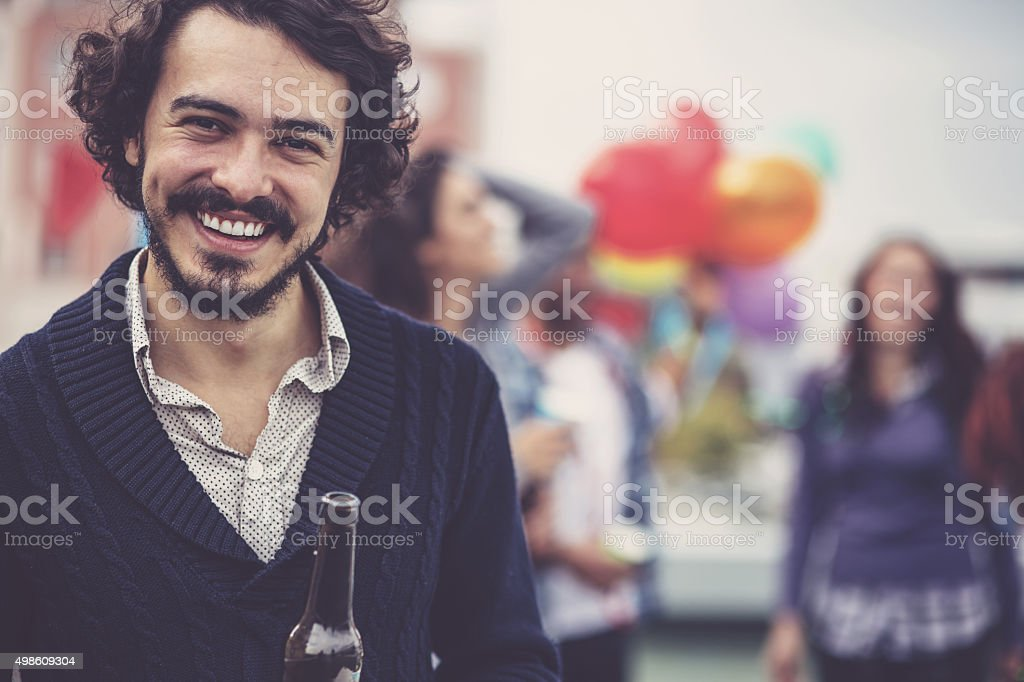 Mans portrait at party stock photo