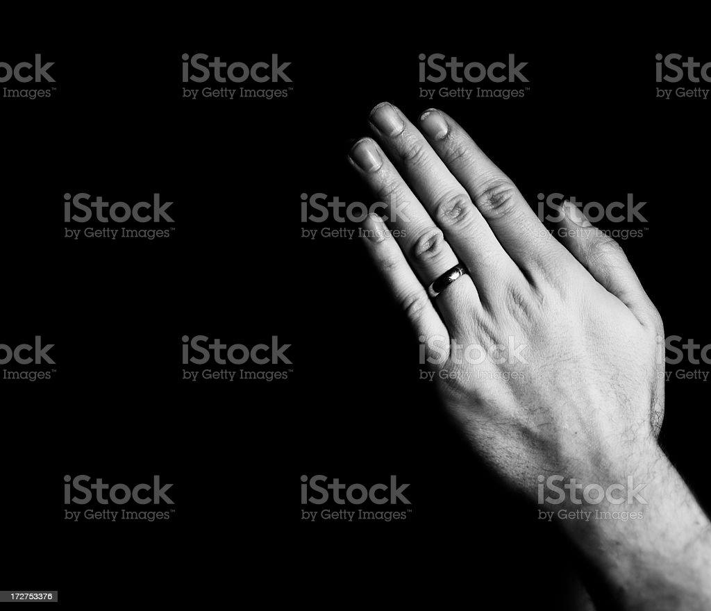 Man's Praying Hands royalty-free stock photo