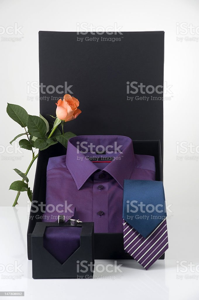 man's shirt and ties in elegant gift box royalty-free stock photo