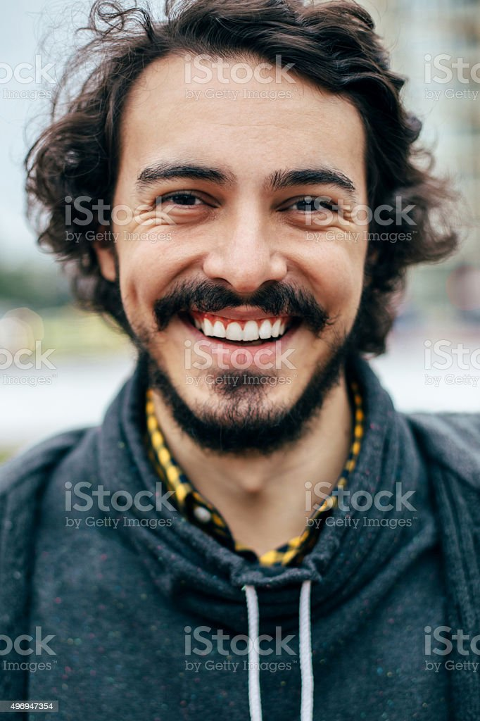 Man's smiling portrait stock photo