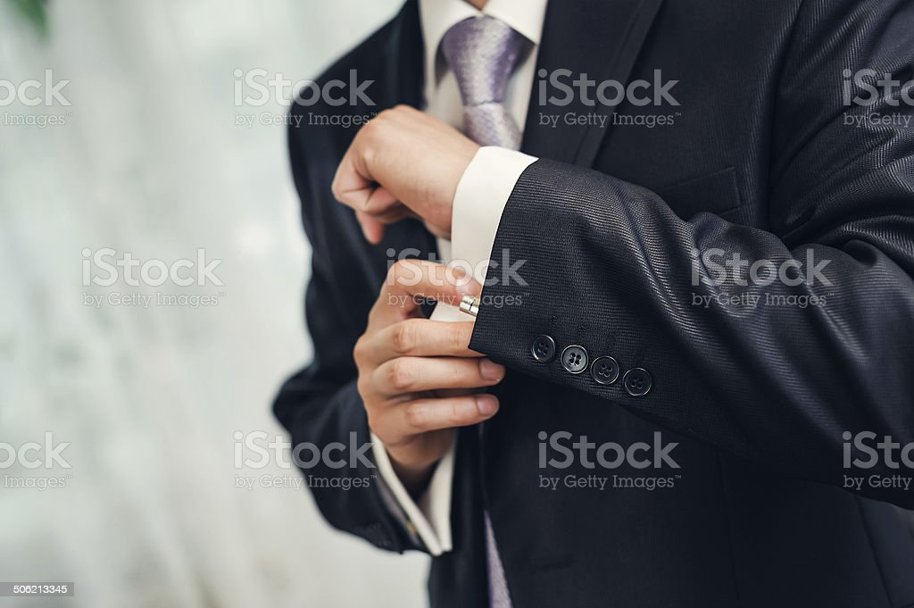 Man's style. dressing suit, shirt and necktie stock photo