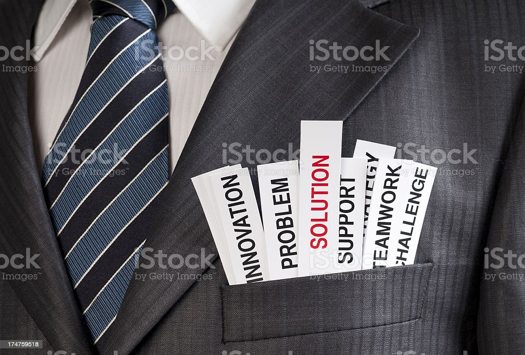 Man's suit jacket with strips of paper with words in pocket royalty-free stock photo