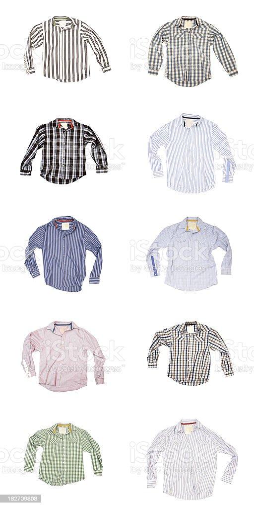 Man's Wardrobe - 10 Shirts on White Background royalty-free stock photo