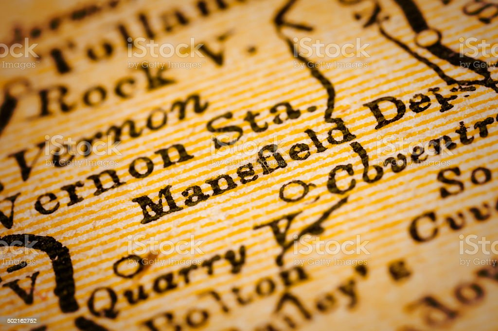 Mansfield, Connecticut on an Antique map stock photo