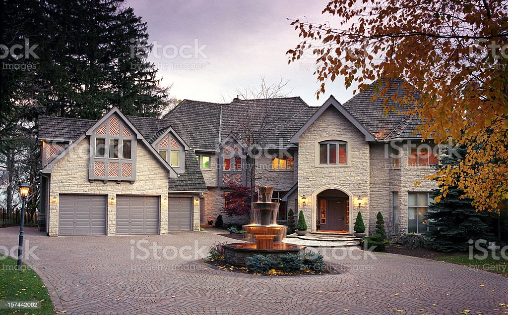 Mansion Exterior in the evening stock photo