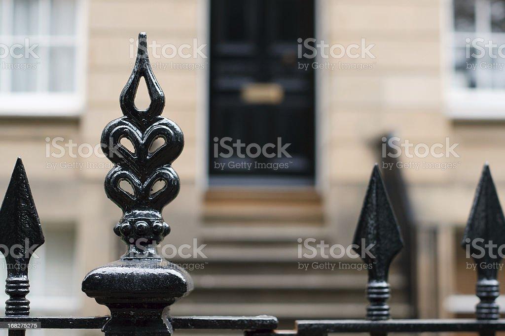 Mansion gate stock photo