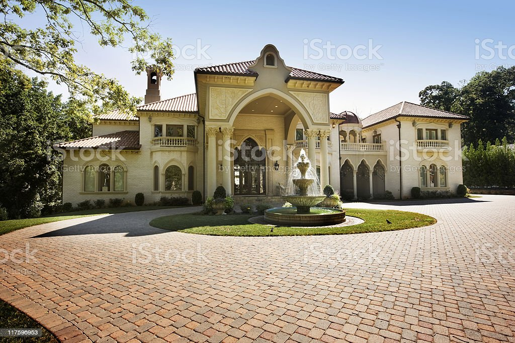 Mansion House with Circular Brick Driveway stock photo