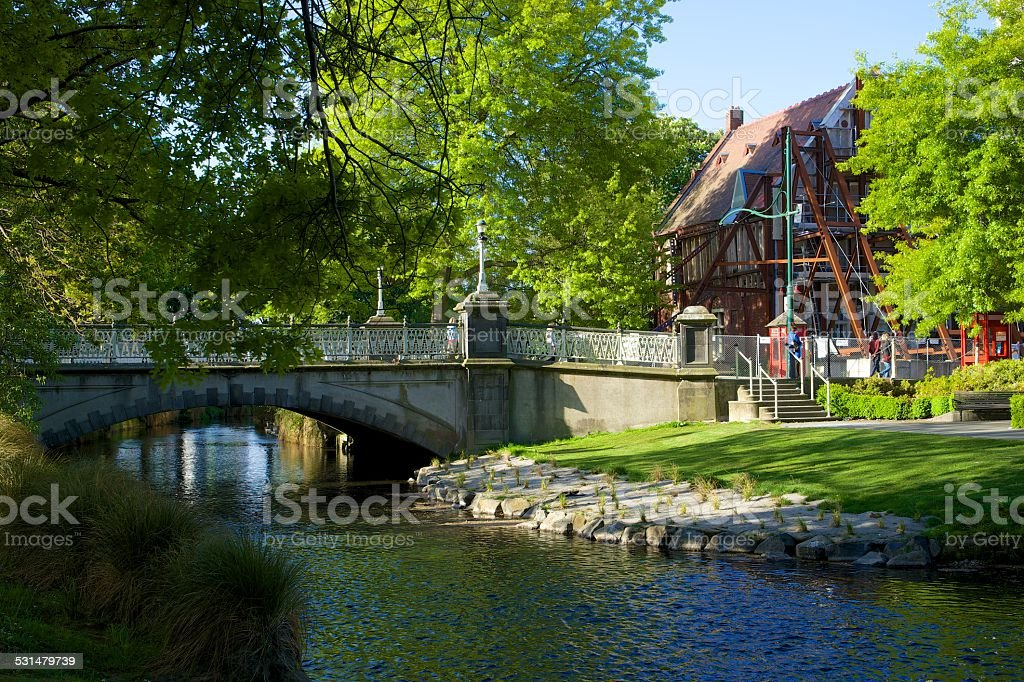 Mansion in construction on the Avon river, Christchurch (NZ) stock photo