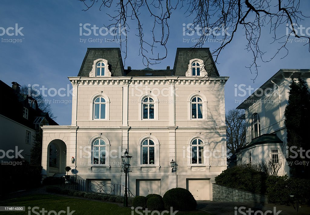 mansion in the morning stock photo