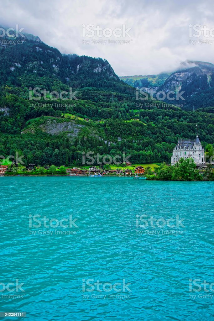 Mansion on Lake Brienz and Brienzer Rothorn mountain Bern Swiss stock photo