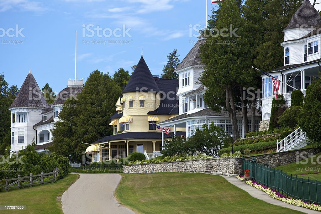Mansions on Mackinac Island stock photo