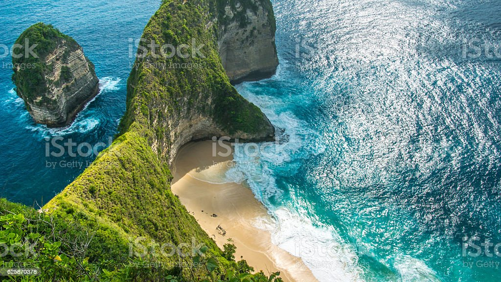 Manta Bay or Kelingking Beach on Nusa Penida Island, Bali stock photo