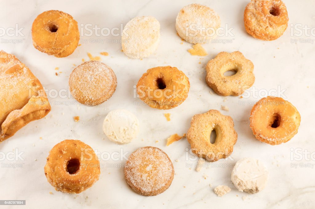 Mantecados, polvorones and other traditional Spanish cookies stock photo
