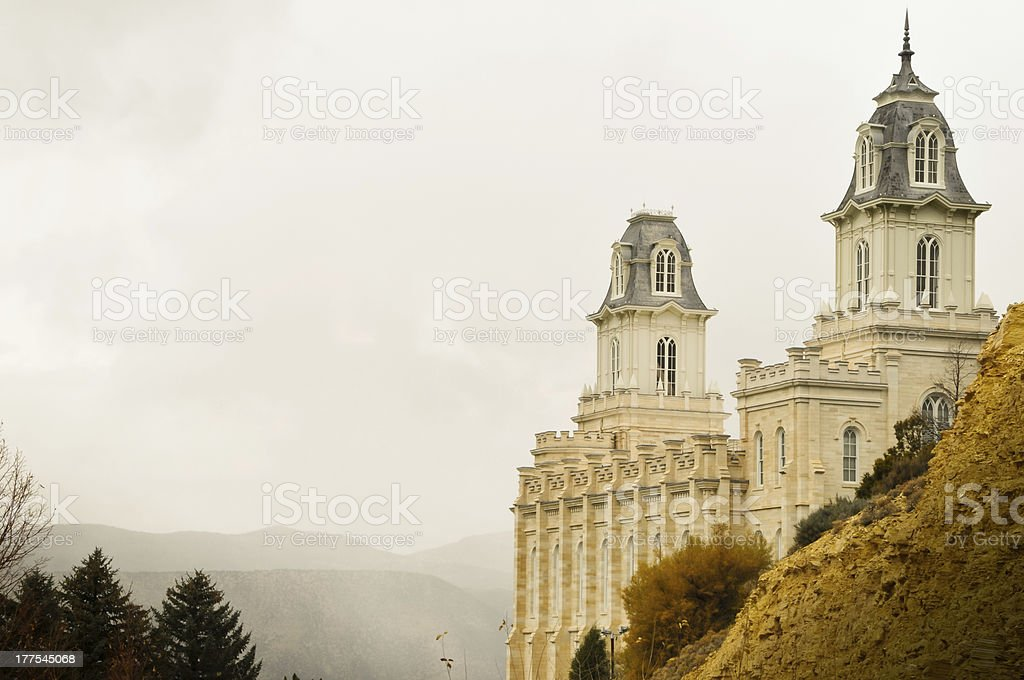 Manti Utah Temple stock photo