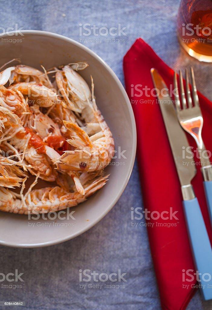 Mantis Prawn Soup stock photo