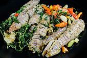 mantis shrimp fried with sweet basil