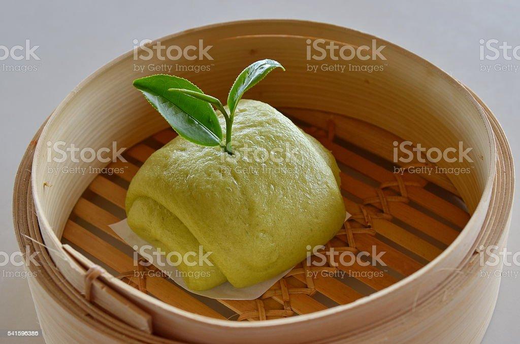 Mantou with green tea. stock photo