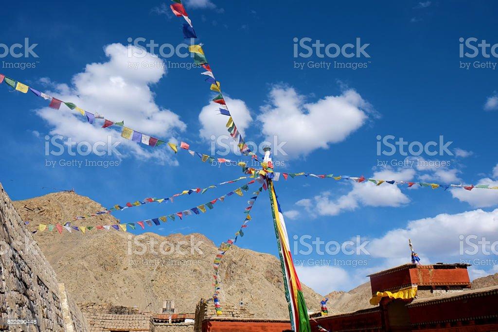 Mantra flag in buddha monastry stock photo