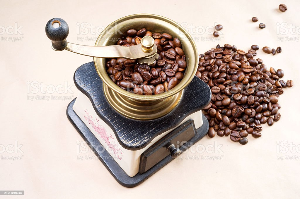 manual coffee grinder stock photo
