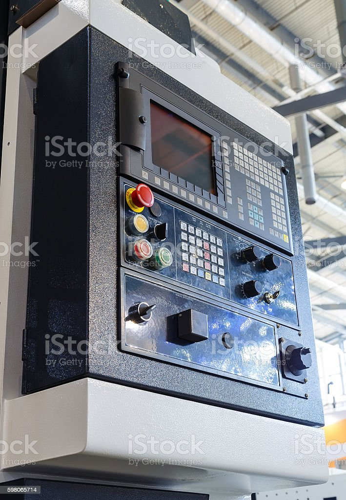 Manual control panel for CNC system with electronic hand wheels. stock photo