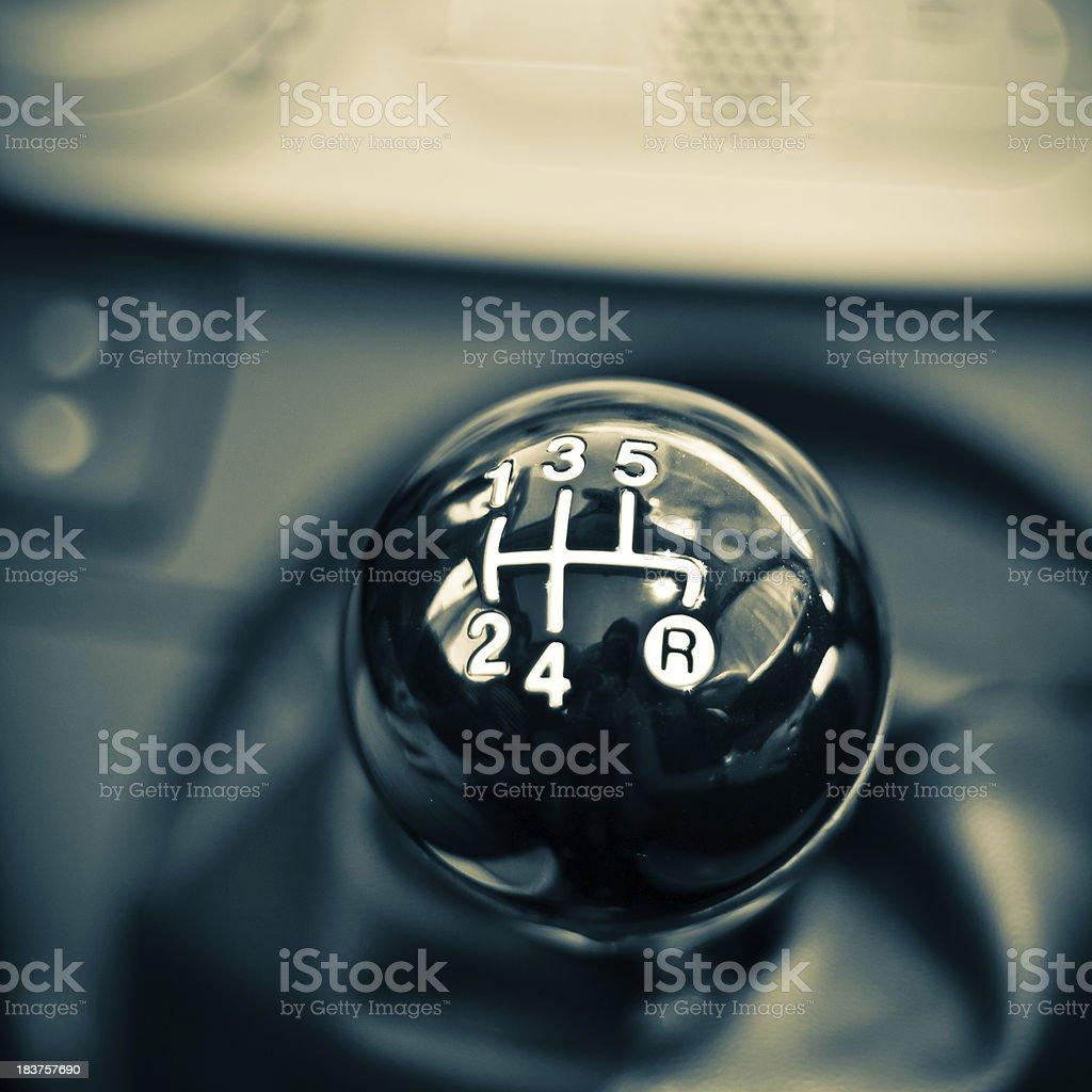 Manual Gear Shift, Close Up in a Car stock photo