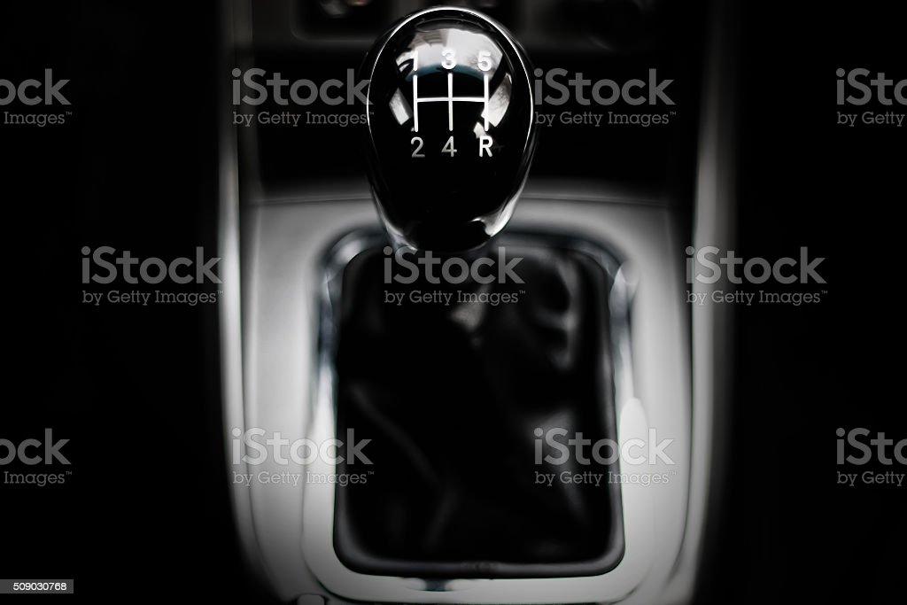 manual gearbox in the car macro black stock photo