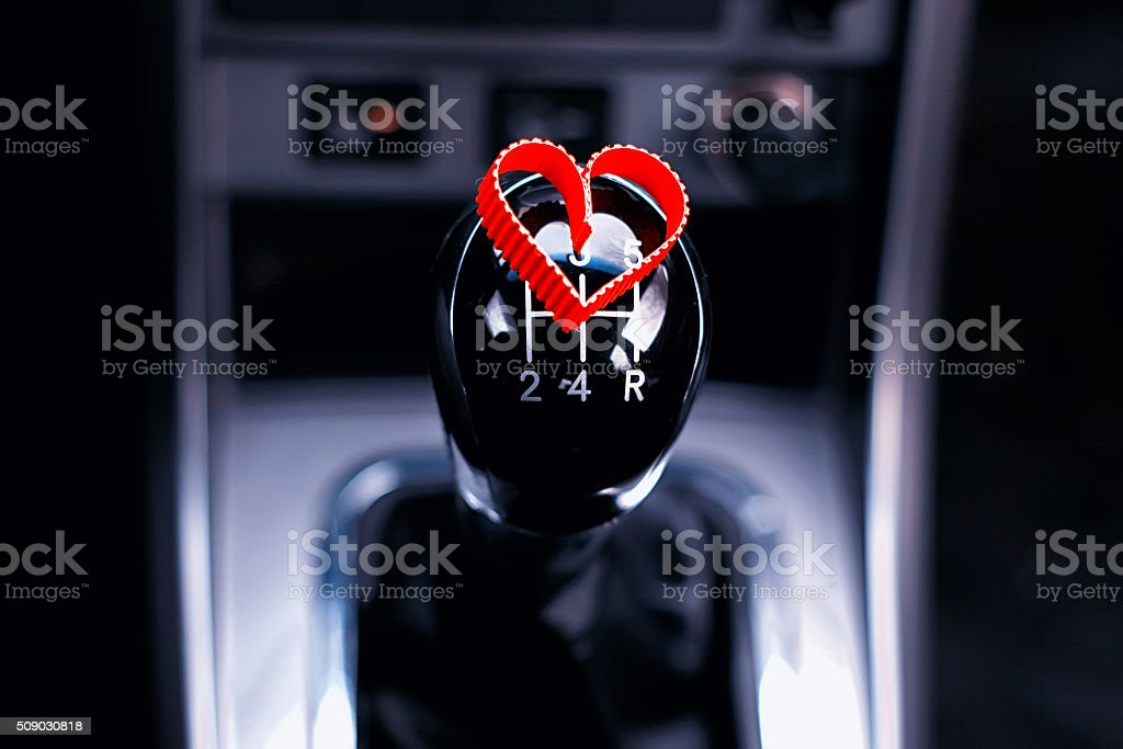 manual gearbox in the car with heart stock photo