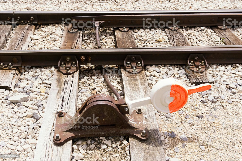 Manual railroad switch stock photo