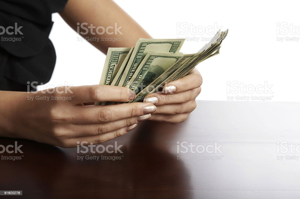 Manual recalculation of money royalty-free stock photo