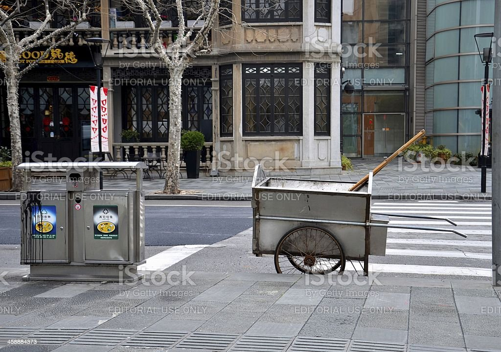 Manual street cleaning equipment on road royalty-free stock photo