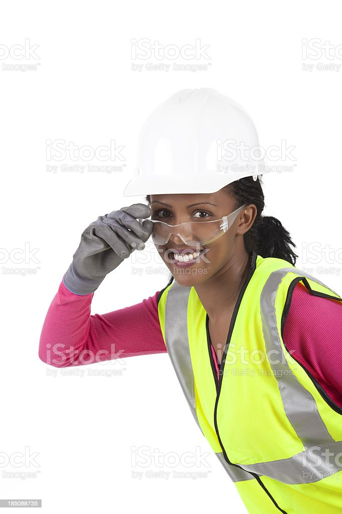 Manual woman worker in safety gear. royalty-free stock photo