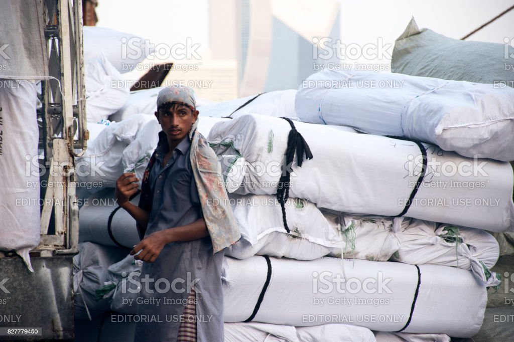Manual worker at the Dubai Creek stock photo