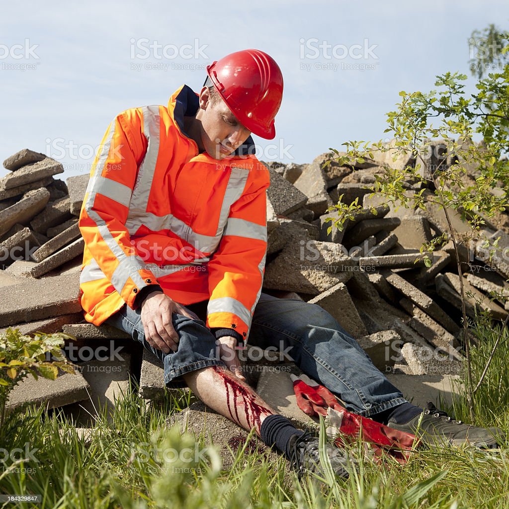 Manual worker falling on the job. Accidents can happen. royalty-free stock photo
