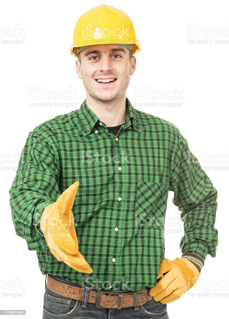 Manual worker give an handshake royalty-free stock photo