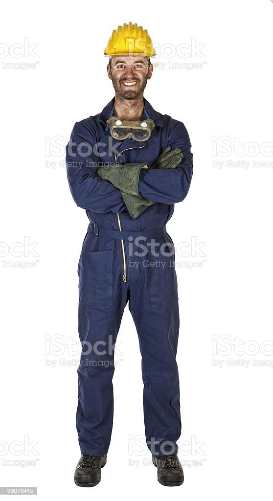 manual worker isolated on white stock photo