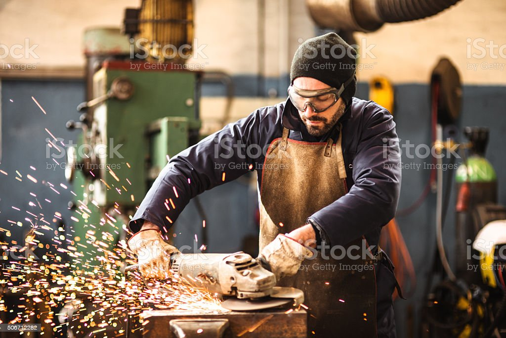 manual worker on a workshop stock photo