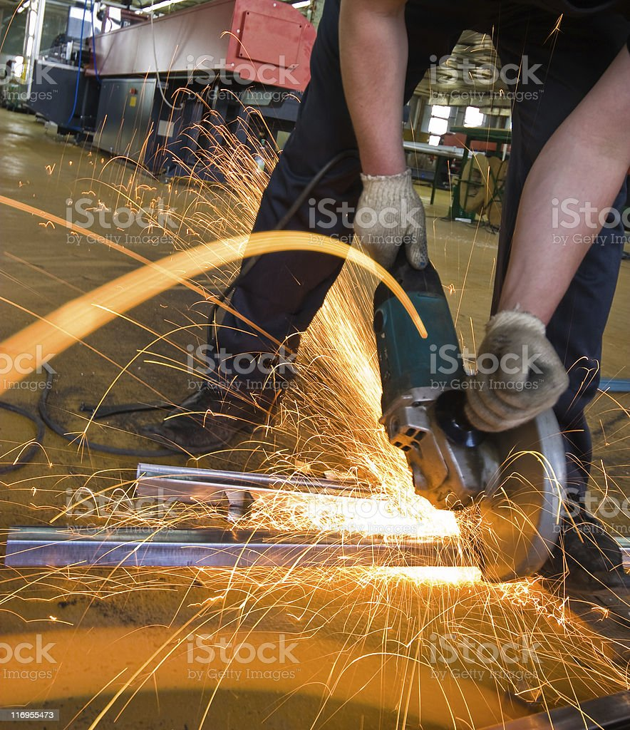 manual worker on plant stock photo