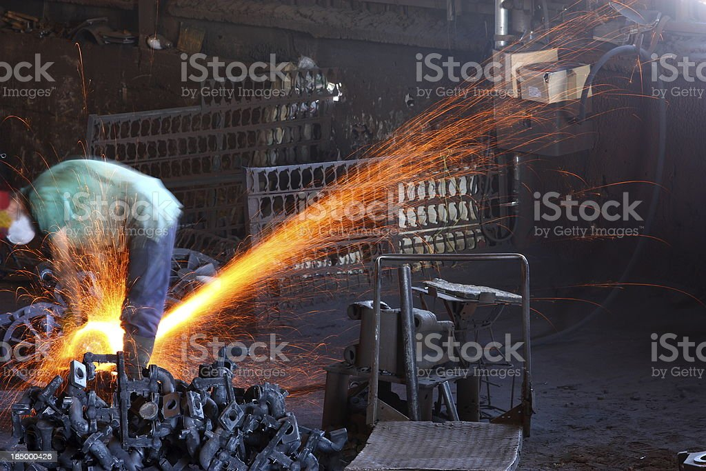 Manual worker with grinder royalty-free stock photo